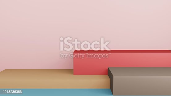 1128982640 istock photo Abstract 3d rendering stage composition, 3d illustration cute background. 1218236363