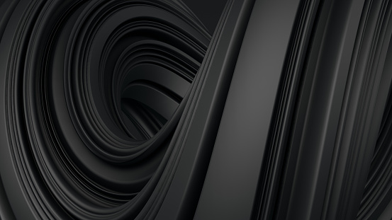 istock Abstract 3D Rendering Twisted Liguid Shape Black Background 1161154501