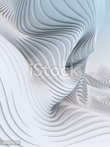 istock Abstract 3d rendering wavy band background surface 531979132