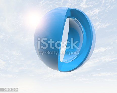 istock Abstract 3d round object and sky background 1069085526