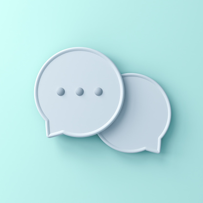 istock Abstract 3d speech bubbles isolated on light green blue pastel color wall background with shadow 1159846417