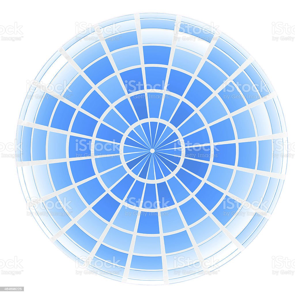 abstract 3d sphere with blue mosaic design stock photo