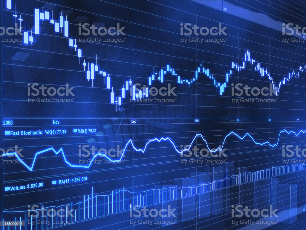Abstract 3-D stock market chart with symbols stock photo