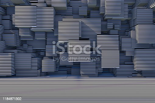 822063742istockphoto Abstract 3D Striped Cube Background with Sunlight 1184871302