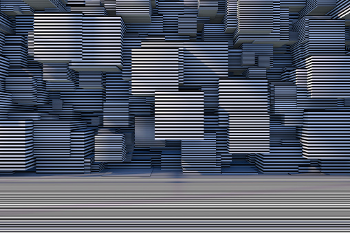 822063742 istock photo Abstract 3D Striped Cube Background with Sunlight 1184871302