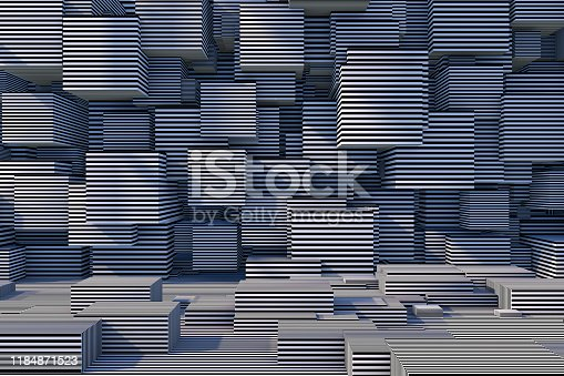 822063742istockphoto Abstract 3D Striped Cube Background with Sunlight 1184871523
