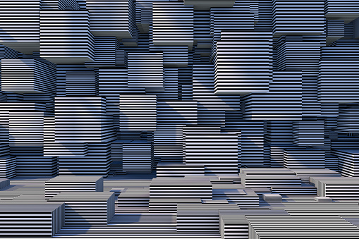 822063742 istock photo Abstract 3D Striped Cube Background with Sunlight 1184871523
