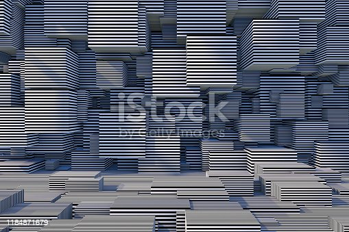 822063742istockphoto Abstract 3D Striped Cube Background with Sunlight 1184871679