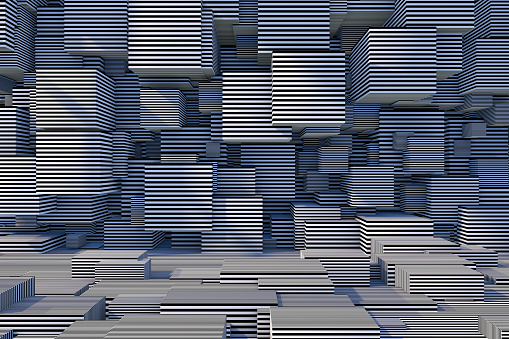 822063742 istock photo Abstract 3D Striped Cube Background with Sunlight 1184871679