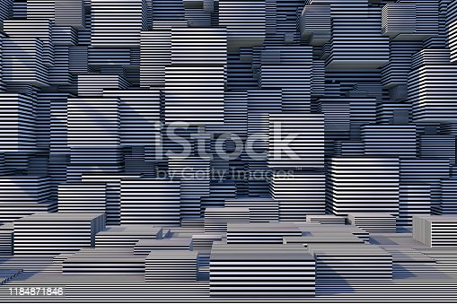 822063742istockphoto Abstract 3D Striped Cube Background with Sunlight 1184871846