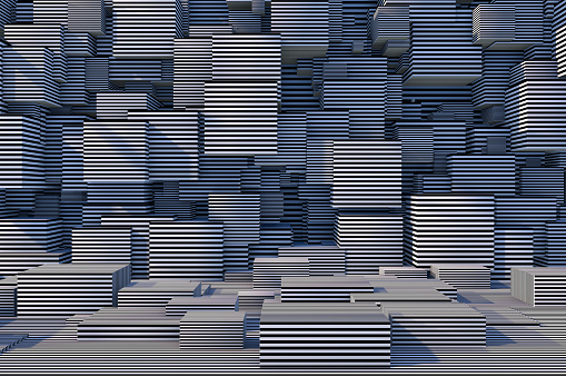 822063742 istock photo Abstract 3D Striped Cube Background with Sunlight 1184871846