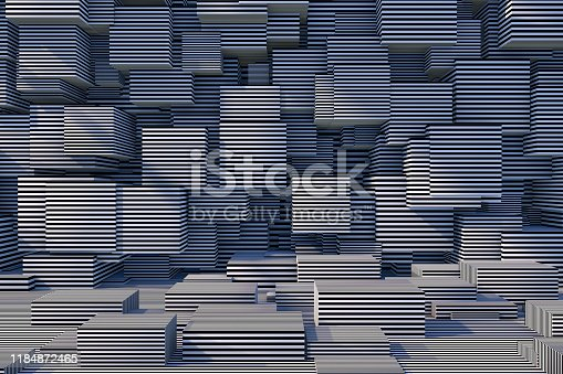 822063742istockphoto Abstract 3D Striped Cube Background with Sunlight 1184872465