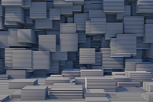 822063742 istock photo Abstract 3D Striped Cube Background with Sunlight 1184872465