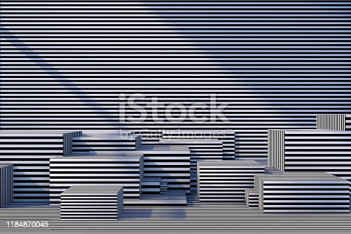 822063742istockphoto Abstract 3D Striped Empty Cube Podium Background with Sunlight 1184870045