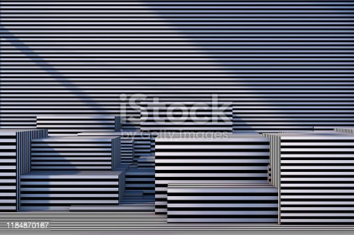 822063742istockphoto Abstract 3D Striped Empty Cube Podium Background with Sunlight 1184870167