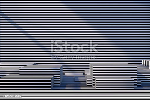822063742istockphoto Abstract 3D Striped Empty Cube Podium Background with Sunlight 1184870336