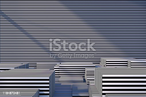 822063742istockphoto Abstract 3D Striped Empty Cube Podium Background with Sunlight 1184870481