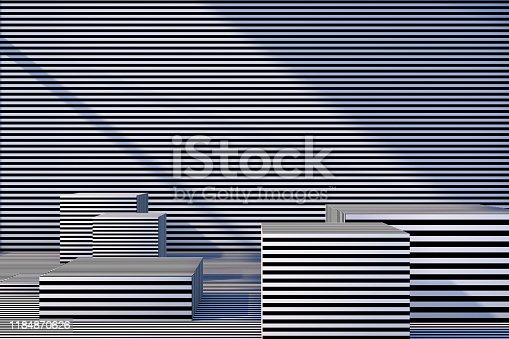 822063742istockphoto Abstract 3D Striped Empty Cube Podium Background with Sunlight 1184870626