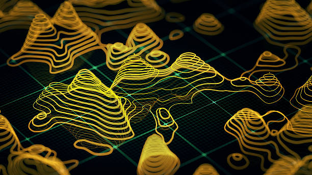 abstract 3d topographic map - topography stock photos and pictures