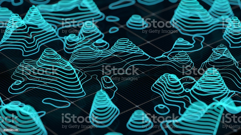 Abstract 3d topographic map stock photo