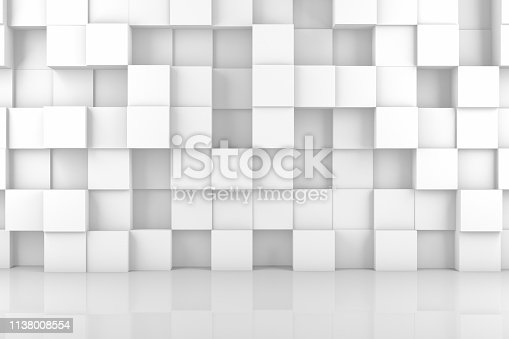 869478294 istock photo Abstract 3D White Cube Wall Background 1138008554