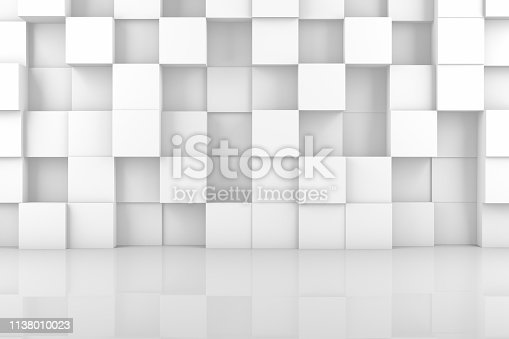 3d rendering of abstract white color cubes on wall. Minimal architecture.