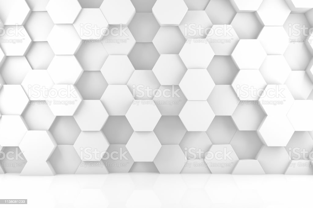 Abstract 3d White Hexagon Wall Background Stockfoto und mehr Bilder ...