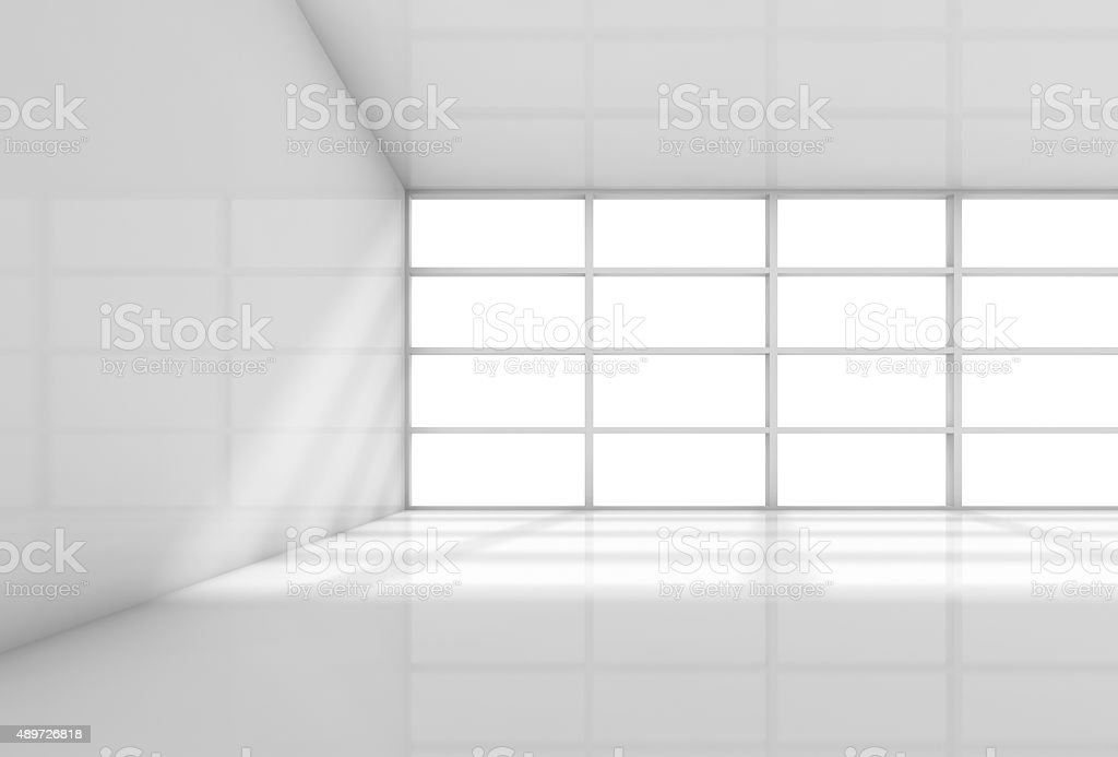 Abstract 3d white interior, empty office room stock photo