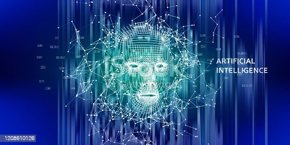 istock Abstract 3d wireframe face. AI. Artificial intelligence concept. Abstract digital  human face with lines data . Big data. 1208610126