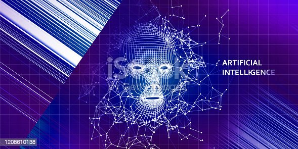 istock Abstract 3d wireframe face. AI. Artificial intelligence concept. Abstract digital  human face with lines . 1208610138