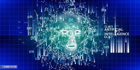 istock Abstract 3d wireframe face.  AI.  Artificial intelligence concept with blurred lines. Abstract digital grid human face. 1208610100