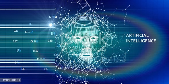 istock Abstract 3d wireframe face. Artificial intelligence concept. Abstract digital  human face. AI. 1208610131