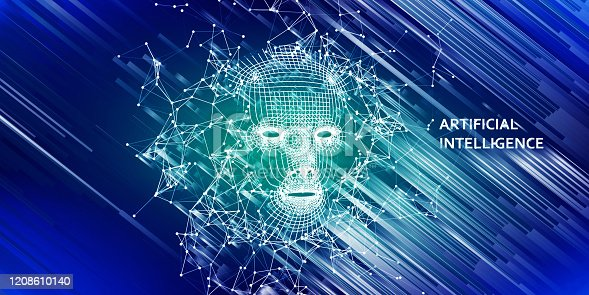 istock Abstract 3d wireframe face. Artificial intelligence concept. Abstract digital  human face with lines . AI. 1208610140