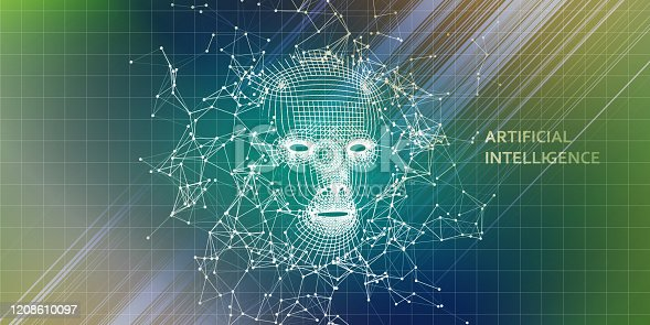 istock Abstract 3d wireframe face. Artificial intelligence concept with color blurred lines. Abstract digital grid human face. AI. 1208610097