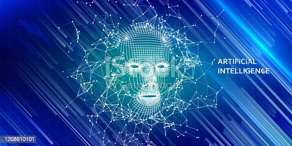 istock Abstract 3d wireframe face. Artificial intelligence concept with color blurred lines. Abstract digital  human face. AI. 1208610101