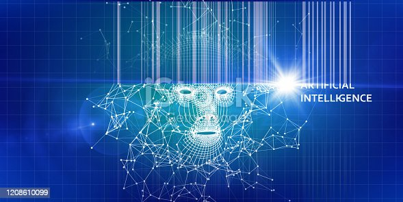istock AI. Abstract 3d wireframe face. Artificial intelligence concept with blurred lines. Abstract digital grid human face. 1208610099