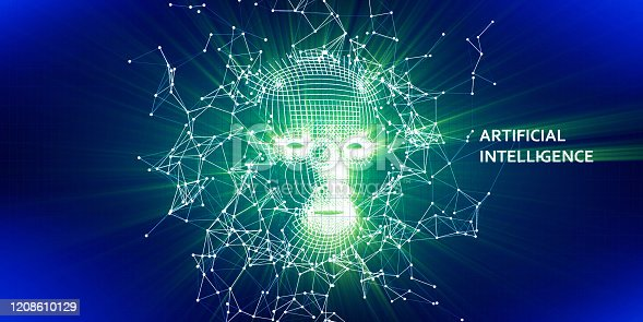 istock Abstract 3d wireframe face. Artificial intelligence concept with blurred shine. Abstract digital grid human face. AI. 1208610129