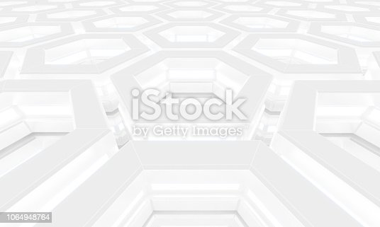 istock Abstract 3d-rendering background of futuristic construction with hexagons. 3D illustration 1064948764