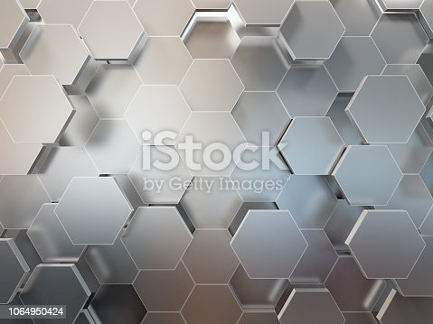 istock Abstract 3d-rendering background of futuristic surface with hexagons. 3D illustration 1064950424