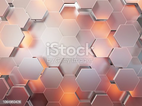 istock Abstract 3d-rendering background of futuristic surface with hexagons. 3D illustration 1064950426