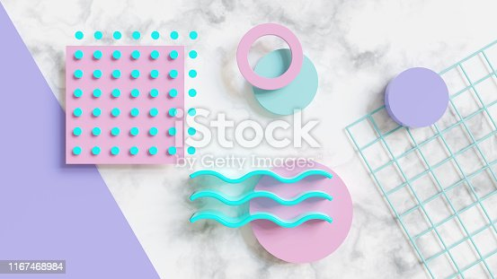 istock Abstract 80s pattern 3d render 1167468984