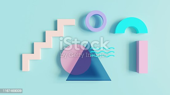 istock Abstract 80s pattern 3d render 1167469009