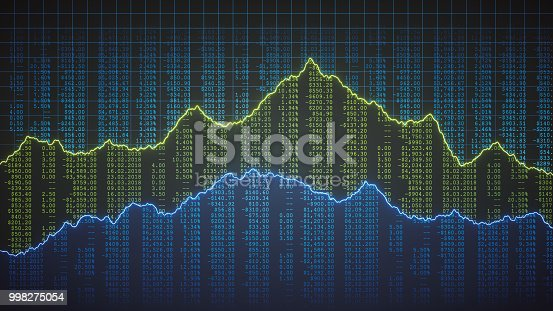 istock Abstract accounting ledger with graph lines front view 998275054