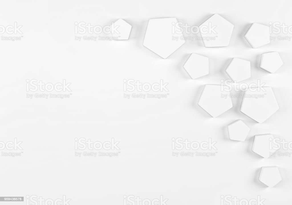 Abstract accumulation of shinny white polygons with space for text. 3d render stock photo