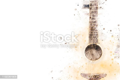 istock Abstract acoustic guitar watercolor illustration painting background. 1132261925