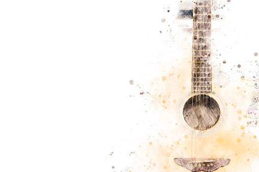 Abstract acoustic guitar on watercolor illustration painting background.