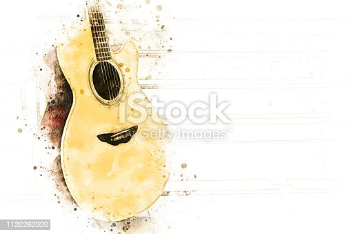istock Abstract acoustic guitar watercolor illustration painting background. 1132262020