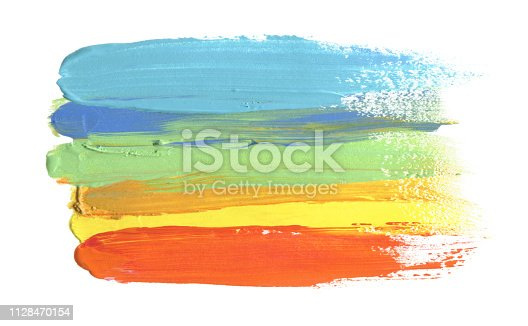 649796262istockphoto Abstract acrylic and watercolor brush stroke painting background. Isolated on white. 1128470154