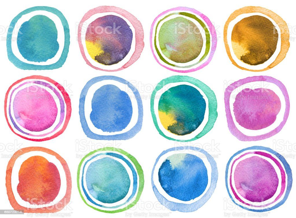 Abstract acrylic and watercolor circle painted background. Collection. Isolated. Texture paper. stock photo