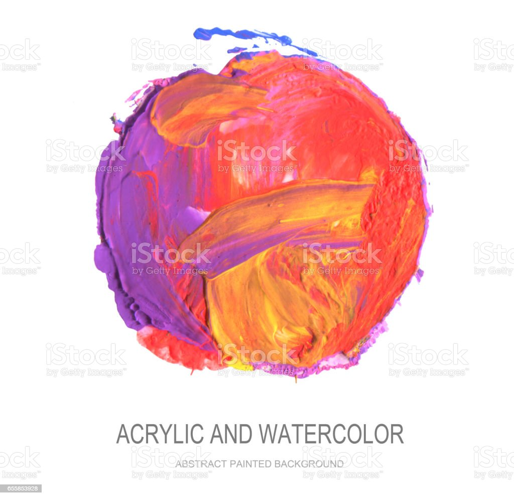 Abstract acrylic and watercolor circle painted background. Isolated. stock photo